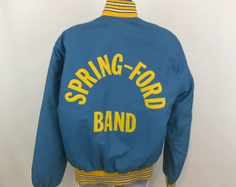 Vintage Marching Band Jacket Bomber Style, Spring-Ford Band Windbreaker The Standard Pennant Co.,  Lori Piccolo, Blue, Distressed, Worn