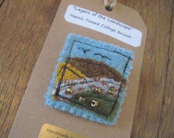 Harris Tweed Textile Art/Collage/Mixed Media Brooch