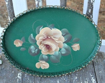 Green Tole Painted Tray with Roses