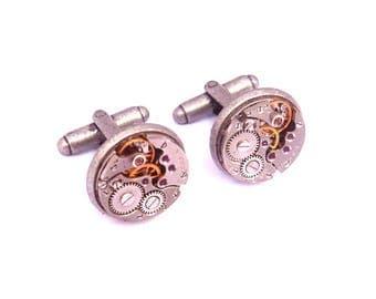 2 buttons silver steampunk cufflinks 16mm mechanism gear for shirt