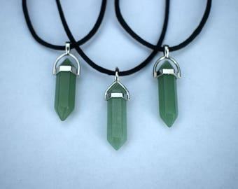 Crystal Choker Necklace--Green Aventurine Hexagonal Healing Crystal Choker Necklace