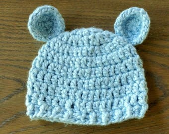 Hat and shoe for babies/Bear hat Grizzly/Organic coton