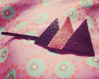 leather and suede Brown and orange triangle bar