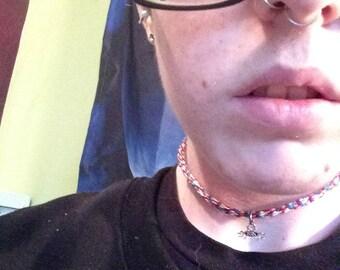 Rainbow Flying Spaghetti Monster Charm Necklace