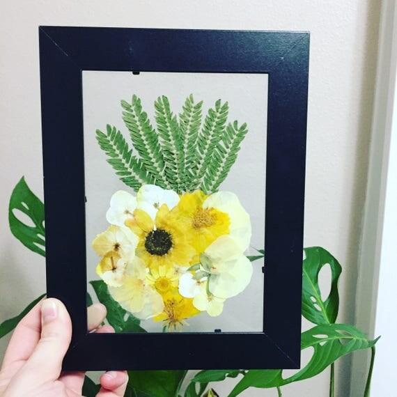Floating Framed Pineapple Art- Framed Botanical 5X7- Real Pressed Flower - Black & Yellow- Pineapple Accent- Herbarium Art- Pinapple Decor