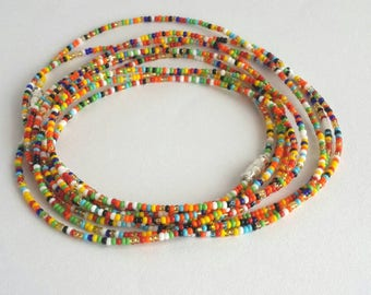 Multicolor waist beads, belly bead bracelet, belly necklace, body beads, African waist beads for sale
