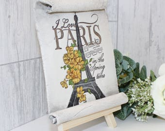 I love Paris in the spring time. Hanging or standing ornament or gift idea. Shabby chic,  rustic, country style French Eiffel Tower.