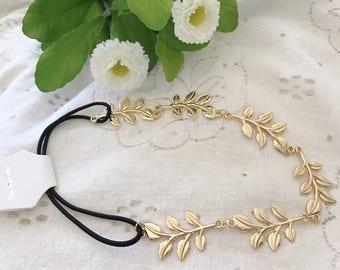 Gold Leaf Headband, Stretchy Headband, Bridal Head Piece/ Bohemian style, Boho Accessories, Wedding Hair Band