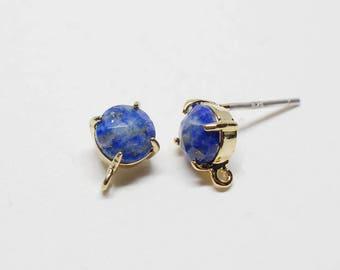 E0157/Anti-Tarnished Gold Plating Over Brass+Lapis Gemstone/Bazeled Faceted Circle Lapis Gemstone Earrings/8x10mm/2pcs