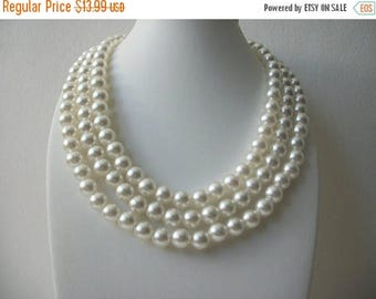 ON SALE Vintage 1950s Faux Pearls Triple Row Necklace 71117