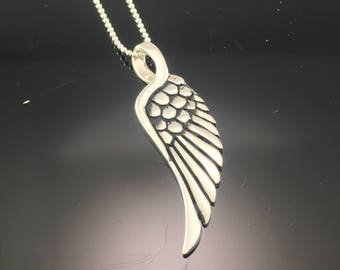0.925 Sterling Silver Angel Wing Pendant - Silver Wing Pendant Necklace - Angel Wing Necklace - Sterling Silver Jewelry
