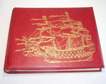 Vintage Photo Album. UNUSED. Retro Picture Album. Old Card Album. Red Photo Album with Blank Cardboard Sheets.