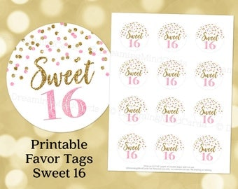 Printable Sweet 16 Birthday Party Round Tags Pink and Gold Confetti Instant Digital Download Labels Stickers or Tags