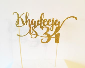 Name Cake Topper, Personalised,  Custom Age and Colour, Birthday Party Cake Decor, Glitter Topper, Birthday Party Decorations