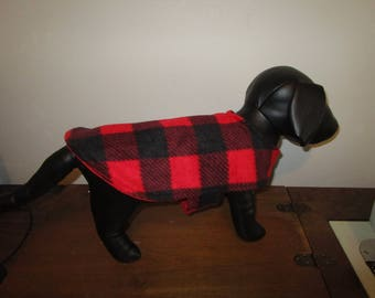 Dog Coat Buffalo Check Red and Black with Red reverse side fleece dog jacket