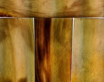"Natural blond horn blank/slab 2 3/8"" x 6 1/4"" x 3/16"" razor scales knife crafts"