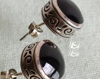 Black Onyx and Silver Stud Earrings