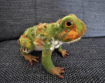 life size needle felted toad sculpture