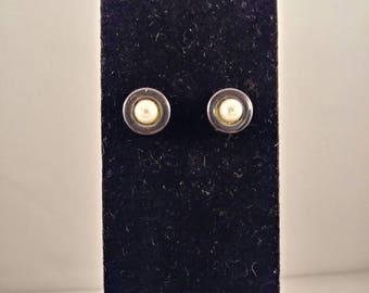 Pearl stud earrings, hematite stud earrings, bezelled earrings