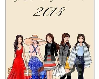 2018 Calendar Instant Download Calendar Printable Calendar Fashion Illustration 12 Month Calendar Art Fashion Girls 2018 Wall Calendar