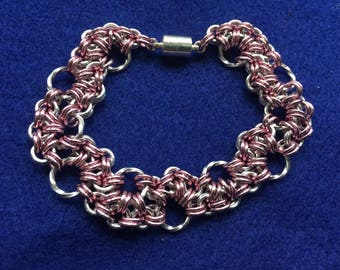 Pale Pink and Twisted Aluminum Stepping Stone Bracelet