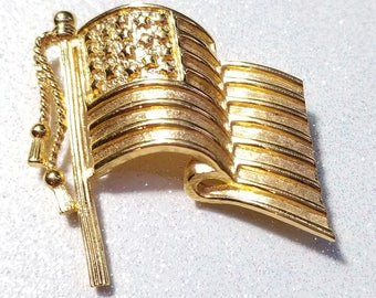Vintage Napier Goldtone Flag Pin Brooch