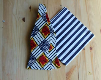 Freestyle bowtie- Red Wedding Tie- Bowtie- Bow Tie and Pocket Square- Bow Ties for Men- African Print Bow Tie- Mens Bowties- Wedding Bow Tie