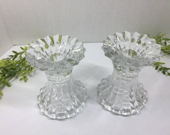 Vintage Glass Crystal Candlesticks scalloped edges