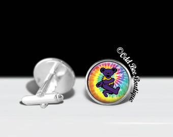 Grateful Dead Cuff Links - Dancing Bear Cuff Links - Deadhead Hippie Hippy Cuff Links - Jerry Garcia  - Gift for Him - Father's Day Gift
