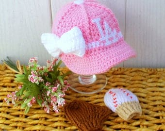 Girls Baseball Hat with Glove and Ball MITTENS, baby girl baseball Mittens, DODGERS inspired(Handmade by me and not affiliated with the MLB)