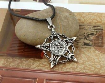 Witch Pentagram Skull Pendant Gothic