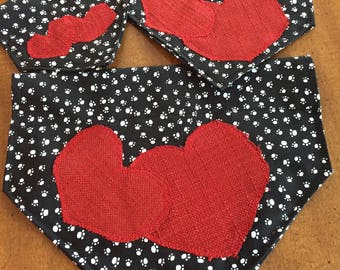 Over the collar dog scarves with Valentines