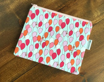Blue with Pink, Red, and Orange Balloons Zipper Bag with Orange Lining, Zipper Pouch, Light Pink Zipper