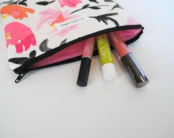 Floral Pink Zipper Bag, Orange Flower Make Up Bag, Pink Flowers, Black Zipper, Pink Lining, Cosmetics Zipper Bag