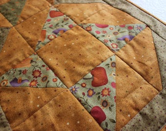 Fall Quilted Table Runner. Green and Rust Pumpkin Table  Runner. Birds and Flowers.