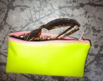 glasses cases handmade faux leather green color