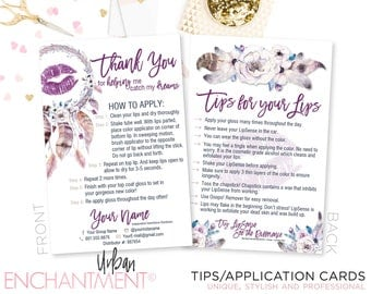 LipSense Application Card -- Boho -- Thank You Card - Tips and Tricks - Tips/Tricks - Instructions - SeneGence - Dreamcatcher - Bohemian