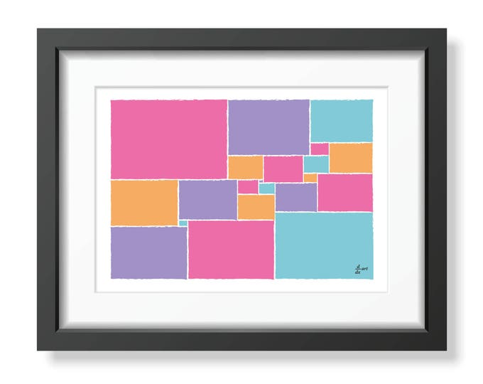 Squared square stretched 06 [mathematical abstract art print, unframed] A4/A3 sizes