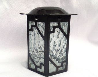 Art Deco Lantern, Clear Pressed Glass, Metal Frame, Classic Art Deco Shape and Style, Circa 1930, Excellent Vintage Condition
