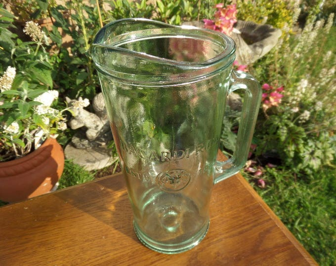 "Rum Cocktail Pitcher, LOW SHIPPING, Heavy Large Glass Pitcher Jug 9"" x 6.25"" Famous Rum Logo, Embossed with Mojito, Cuba Libre, Recipes"