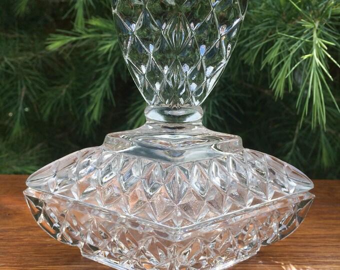 """Art Deco Glass Trinket Pot, Rudolfova Czechoslovakia, Clear Pressed Glass, Geometric Diamond Glass Finial, 5"""" x 5"""" x 3"""" Immaculate Condition"""