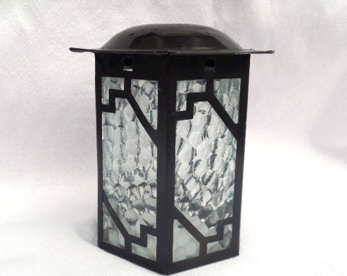 "Art Deco Lantern, Clear Pressed Glass, Metal Frame, Classic Art Deco Shape and Style, Circa 1930, Excellent Vintage Condition, 6"" x 5.5"""