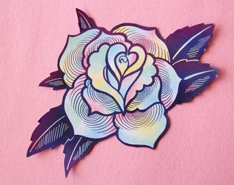 Psychedelic Rose Laptop Vinyl Sticker - Large Decal in Tattoo Style Rainbow - Pastel Goth Creepy Cute Decoration Art - Waterproof