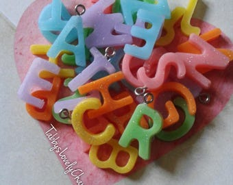 Handmade Resin Personalized Initial Charm Necklace