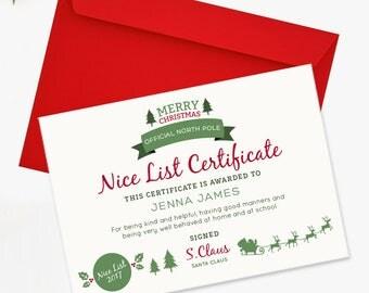 Santa's Nice List Certificate - Children's Official North Pole Certificate
