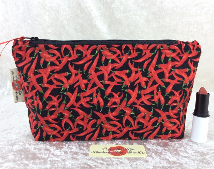 Red Hot Chillis Peppers Zip Case Bag Pouch fabric Handmade in England