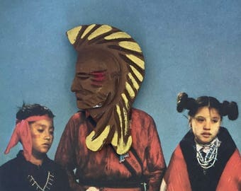 Vintage Wooden Indian Head Handpainted Brooch