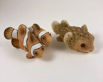 Fish figurines, Tropical Fish Collectibles, Clown Fish, Puffer Fish, 2 Vintage Hand Painted Tropical Fish, Stocking Stuffers