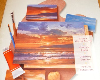 Oil Painting SUNSETS  by Walter Foster Step by Step Instructional Tutorials On How to Paint Sunsets And Seascapes