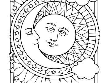 Sun Moon stars svg dxf file